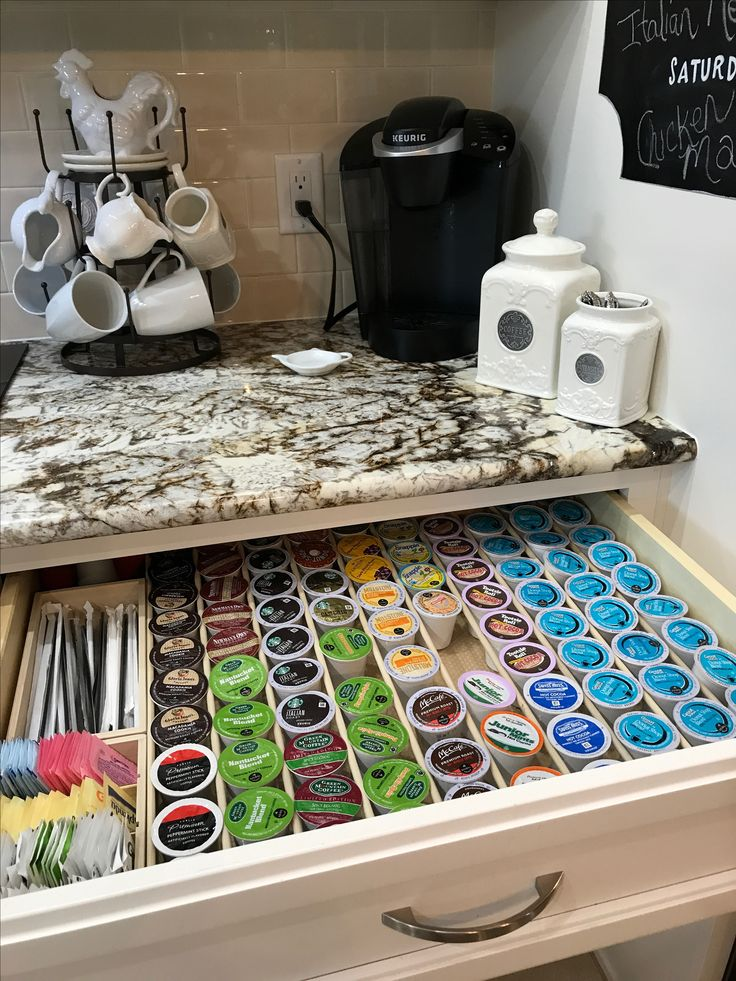 Keurig pod drawer organizer. Room for sugars and stirs too.