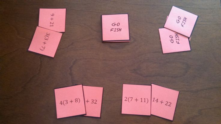 "Don't miss the FREE #mathstation game on the distributive property! Students play ""Go Fish"" matching equaivalent expressions using the distributive property by factoring out the GCF."