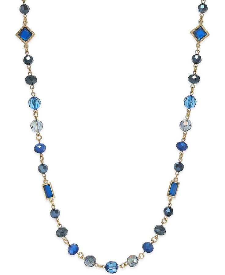 Charter Club Gold-Tone Blue Bead Long Length Necklace, Only at Macy's