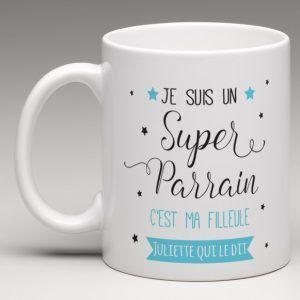 Cadeau parrain, mug personnalisé. Création le monde de bibou