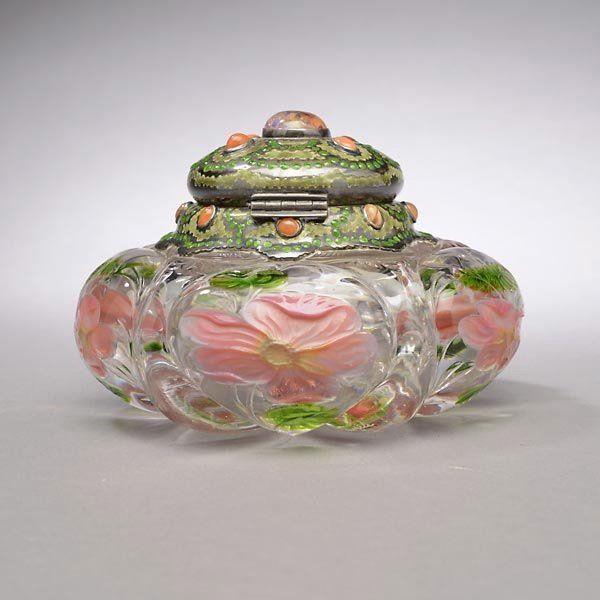 Art Nouveau. Louis Comfort Tiffany (1848-1933) - Inkstand. Glass, Silver, Enamel, Carnelian and Fire Opal circa 1907