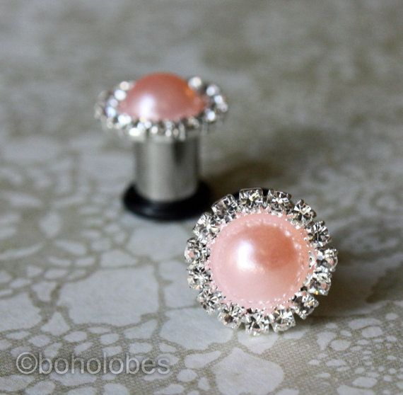 """More colors pearl rhinestone plugs sizes: 14g, 12g, 10g, 8g, 6g, 4g, 2g, 0g, 00g, 7/16"""" on Etsy, $16.50"""