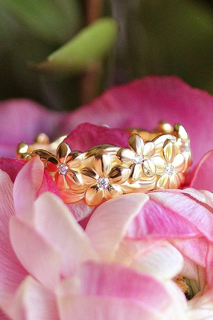 Floral unique diamond wedding ring - hawaain diamond ring - jungle ...