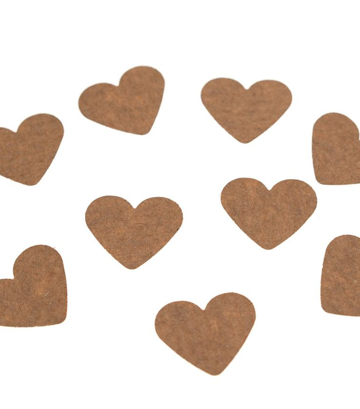 Pack of 100 hearts made from 100% recycled manilla Kraft paper. Each heart measures 2.5 cm.  Great for decorating party or wedding tables and for embellishing all sorts of craft projects.