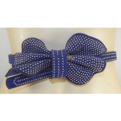 Impulse narrow royal blue studded suede effect belt bow trim on front