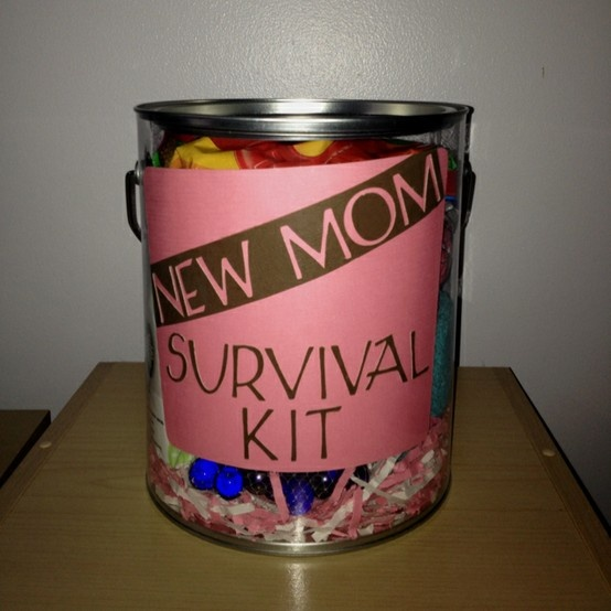 New Mom Survival Kit.  Clever and thoughtful!: Shower Gifts, Hairs Elast, Cute Idea, Baby Mirror, Hershey Kisses, Gifts Idea, Mom Survival Kits, New Moms, Baby Showers