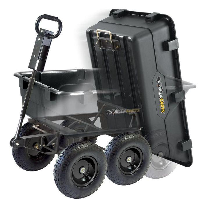 Garden Dump Cart Heavy Duty Wheelbarrow Utility Yard Wagon Lawn Trailer Tractor
