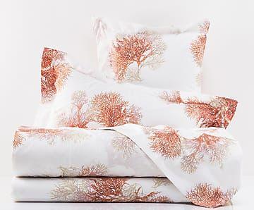 Completo letto copriletto in percalle di cotone Gorgonie rosso, matrimoniale