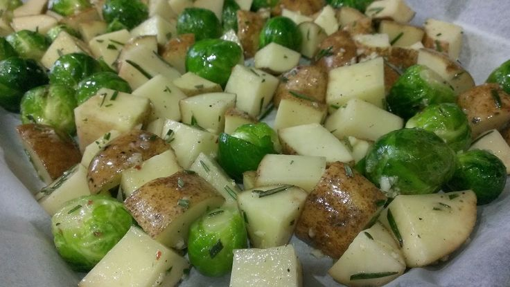 ... Roasted Potatoes and Brussels Sprouts with Garlic and Rosemary