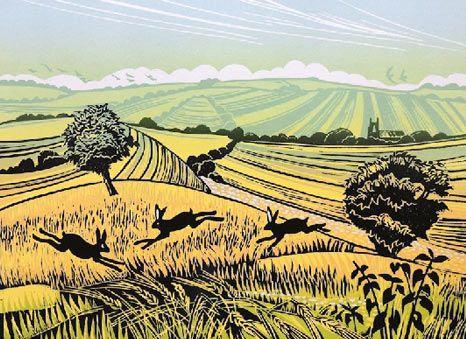 Linocut by Rob Barnes at Norton Way Gallery Hertfordshire