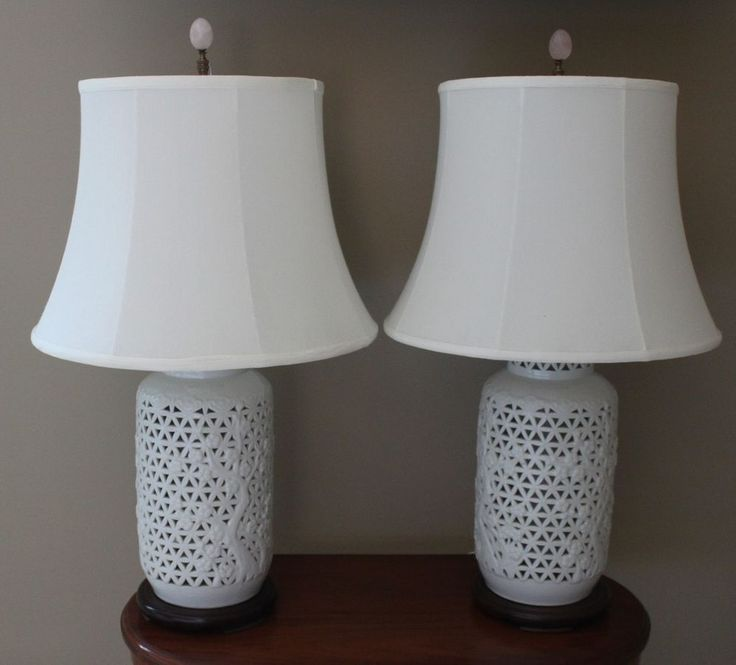 Pair Porcelain Blanc De Chine Ginger Jar Asian table lamps Japan w/silk shades