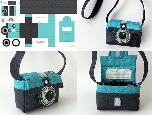 How cool is this!  Camera Camera bag! No link to real pattern that I see, have to make your own?