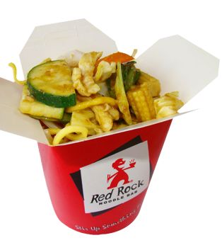 Satay Peanut Chicken: Thick egg noodles with chicken breast & fresh vegetables in a mild satay sauce.
