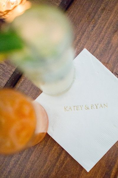 Cocktail napkins were personalized with the couple's names in gold foil - elegant wedding cocktail napkin idea {Sam Stroud Photography}