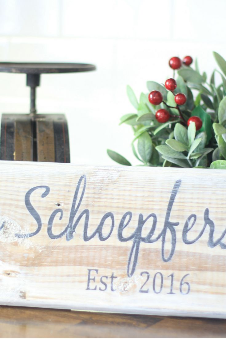 Personalized Wood Sign. Give the perfect personalized DIY gift this holiday season with this Farmhouse inspired personal wood sign. Click through or repin later. www.meetourlife.com