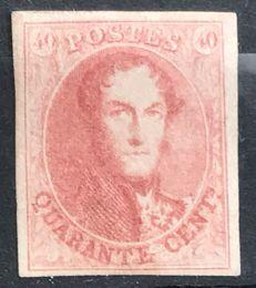 Belgium, 1861 – OBP no. 12B Leopold I, medallion, 40 centimes, carmine