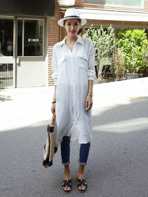 大人カジュアルな白シャツワンピコーデ♡春夏ファッションのシャツワンピースのコーデ