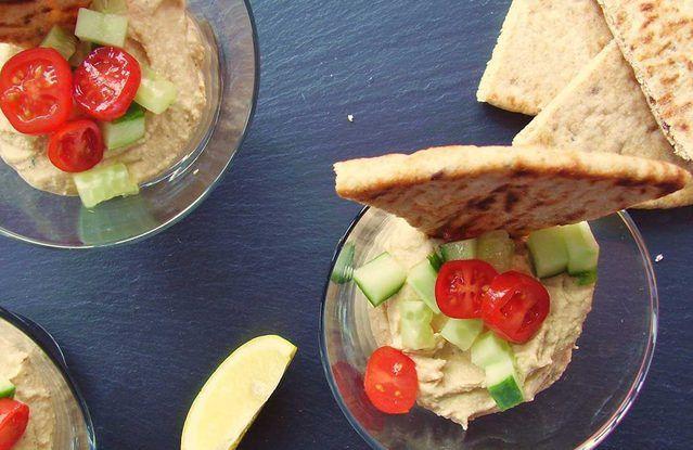 Virgin Bloody Mary Hummus With Flatbread