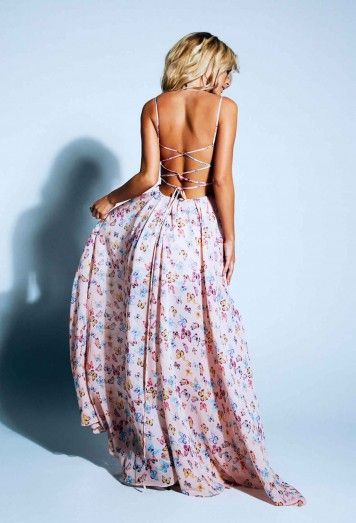 Open back & long flowy dress