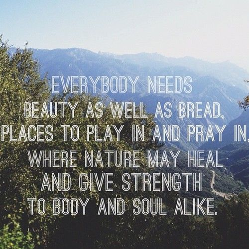 Everybody needs beauty as well as bread, places to play in and pray in where nature may heal and give strength to body and soul alike. #Adventure