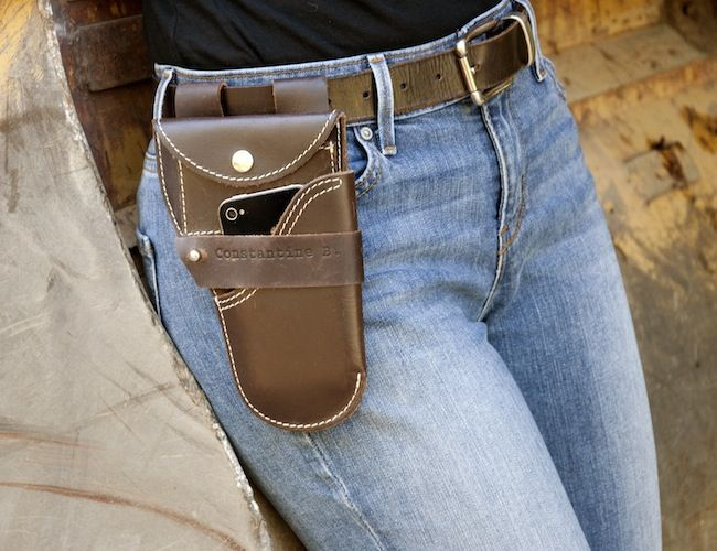 """Urban Holster / A all-in-one holster made from high quality bridle leather for quick access to your iPhone or Android phone and equipped with """"inside"""" and """"outside"""" wallets for accessing small moleskin type notebook, pencil or pen, credit cards, driver's license, small maps or even scissors or buckle knife (handy if you work in a workshop or design studio). http://thegadgetflow.com/portfolio/urban-holster-35/"""