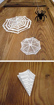 Spider web made of paper for Halloween