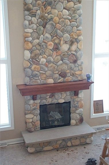 20 best fireplace redesign images on pinterest fire for Field stone fireplace