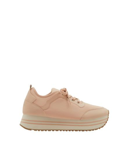 Pink chunky sole fashion sneakers - Trainers - Shoes - Woman - PULL&BEAR United Kingdom