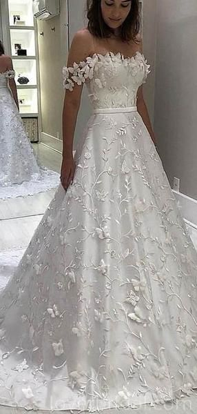 Off Shoulder A-line Lace Long Wedding Dresses Online, Cheap Bridal Dre – LoverBridal #wedding #weddingdresses #bridal #cheapweddingdresses #bridaldresses #bridalgowns #weddingidea