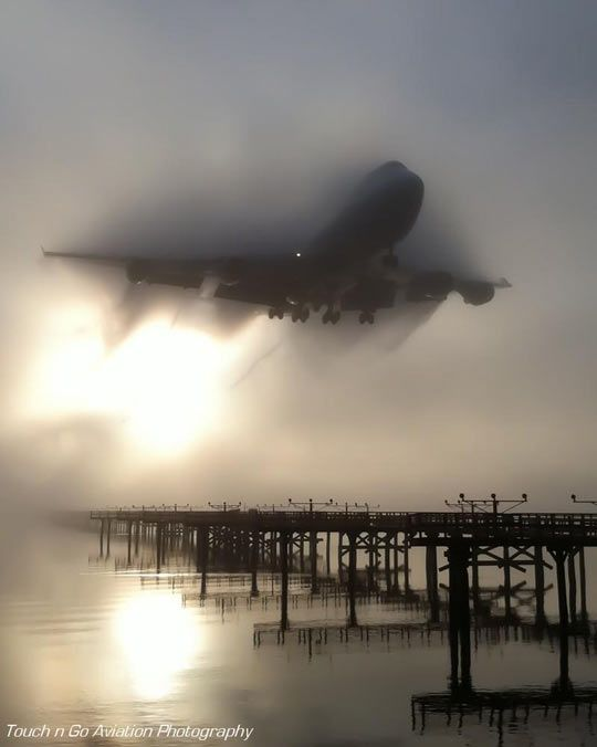 747 cutting through the fog… Image by Touch and Go Aviation Photography
