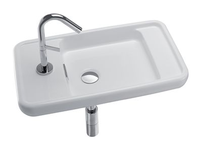 Rondik 600mm Compact Basin  Features:    Basin design for left hand tap hole only  Overflow outlet