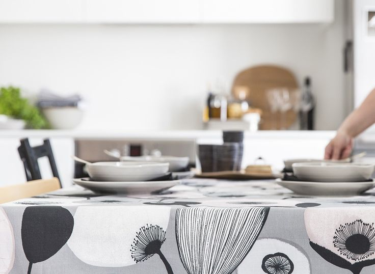 "Pastelli Table Cloth | A modern style does not have to be cold and clinical! Minna Niskakangas designed a trendy pattern with her mellow and engaging touch. The name ""Pastelli"" refers to the drawing technique and the sweet shapes and colours boosted with black details. Pastelli tablecloth is made of 100% cotton."