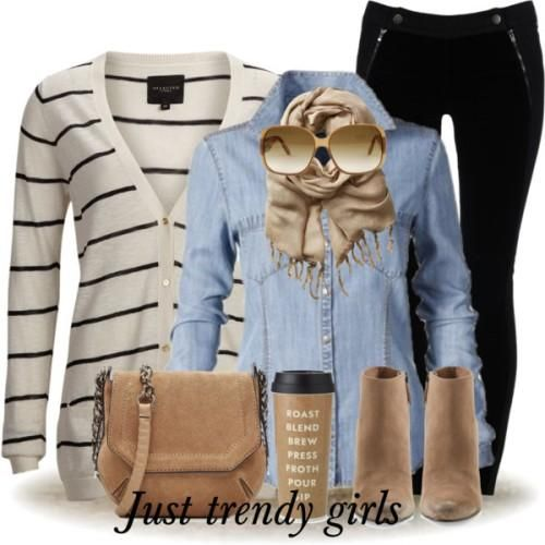 striped cardigan denim shirt outfit, Style Inspiration Winter Outfits http://www.justtrendygirls.com/style-inspiration-winter-outfits/