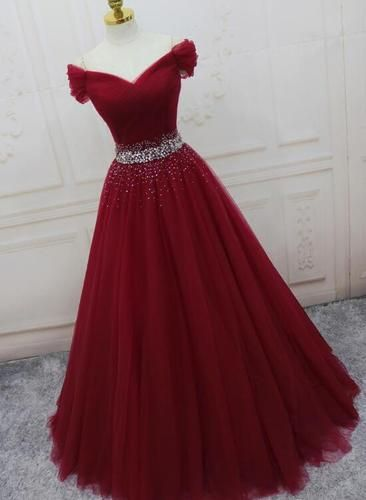 Wine Red Elegant Princess Gown, Handmade Off Shoulder Ball Gowns, Party Dress 20…
