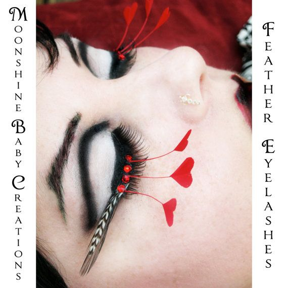 Queen of Hearts - Black & White Stripe Feather Eyelashes w/ Red Hearts and Swarovski Crystals