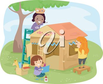 Illustration of Little Girls Building a Playhouse Made of Carton