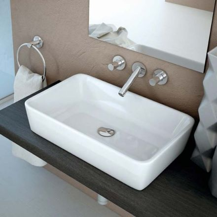 Vasque à poser rectangle 58x37 cm, céramique, Almeria 160 euros SANS TROP-PLEIN