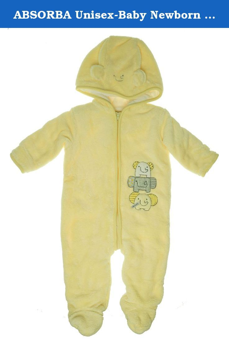 ABSORBA Unisex-Baby Newborn Elephant Fuzzy Footie, Yellow, 6-9 Months. A baby unisex newborn fuzzy footie. The footie is a fully lined outwear and comes with embroidered elephant detail. There is some artwork on the ears. The perfect outerwear piece for the unpredictable winter weather.
