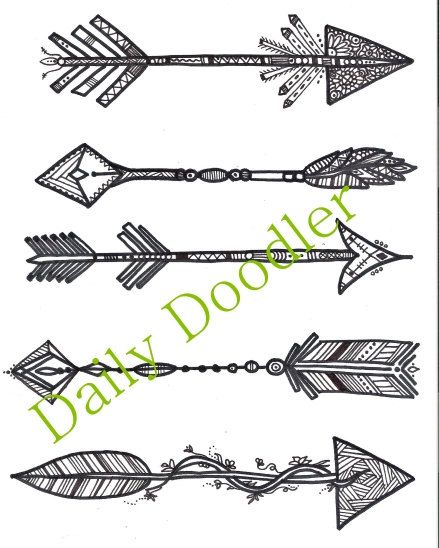Adult Coloring Page - Five Arrows - Instant Download - Zentangle - Doodle Illustration - DailyDoodler - Unique Arrow Art Drawing