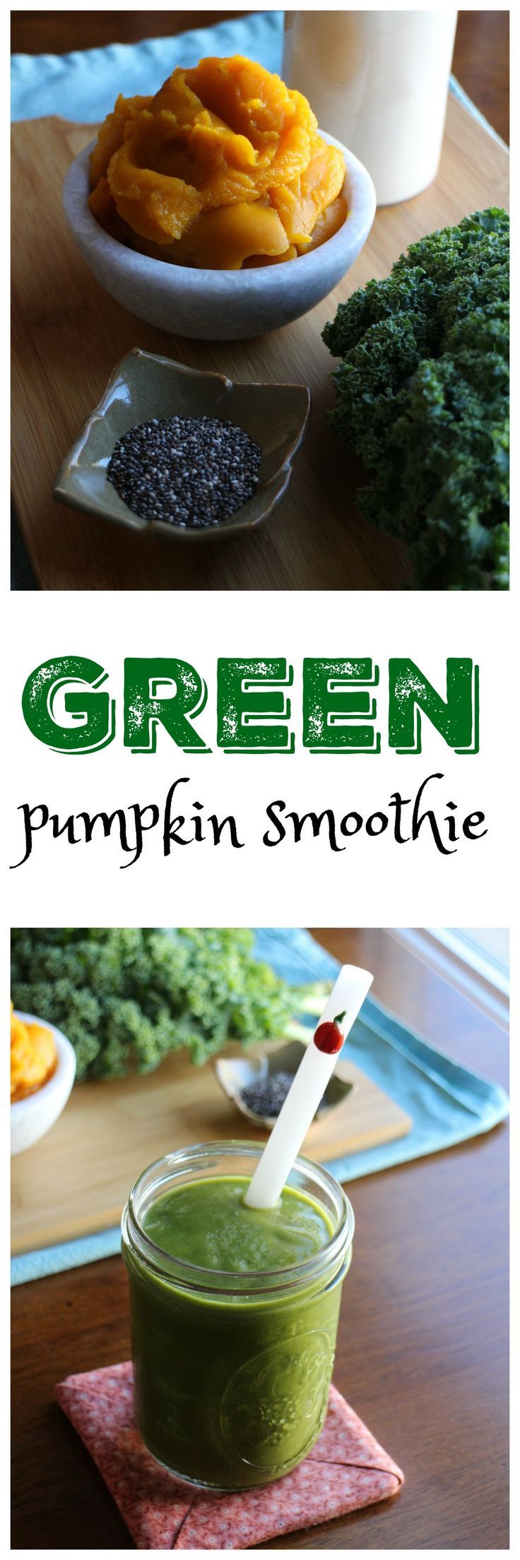 Green Pumpkin Smoothie: This autumnal vegan smoothie is packed with pumpkin, kale, bananas, and non-dairy milk. It's a delicious breakfast or anytime snack. | cadryskitchen.com