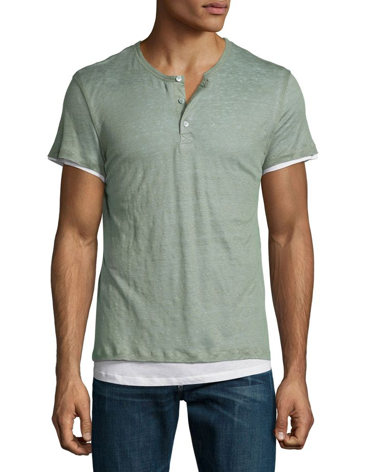 Double-Layer Short-Sleeve Henley T-Shirt, Green, Men's, Size: XX-LARGE - Majestic