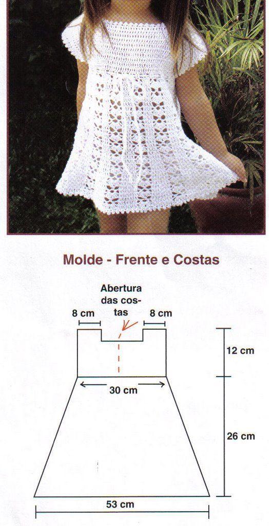 Vestido de crochê tamanho 2 anos branco com manguinha