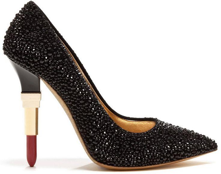 Женские туфли-лодочки на каблуке в форме губной помады, из черных страз Alberto…