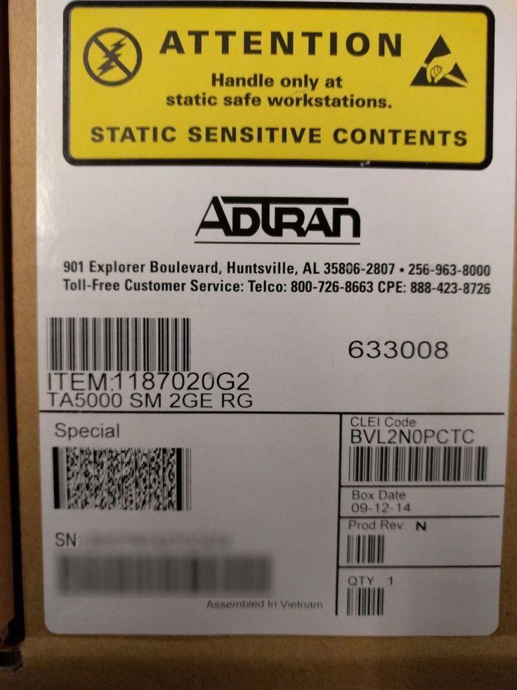 ADTRAN 1187020G2 TA5000 SM 2GE RG BVL2N0PCTC (We also buy ADTRAN!)