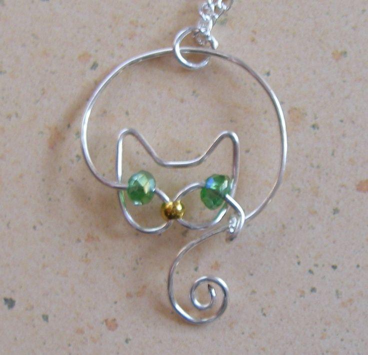 Delicate Silver Wire Cat Pendant Necklace by JillsCatsDogsAndMore