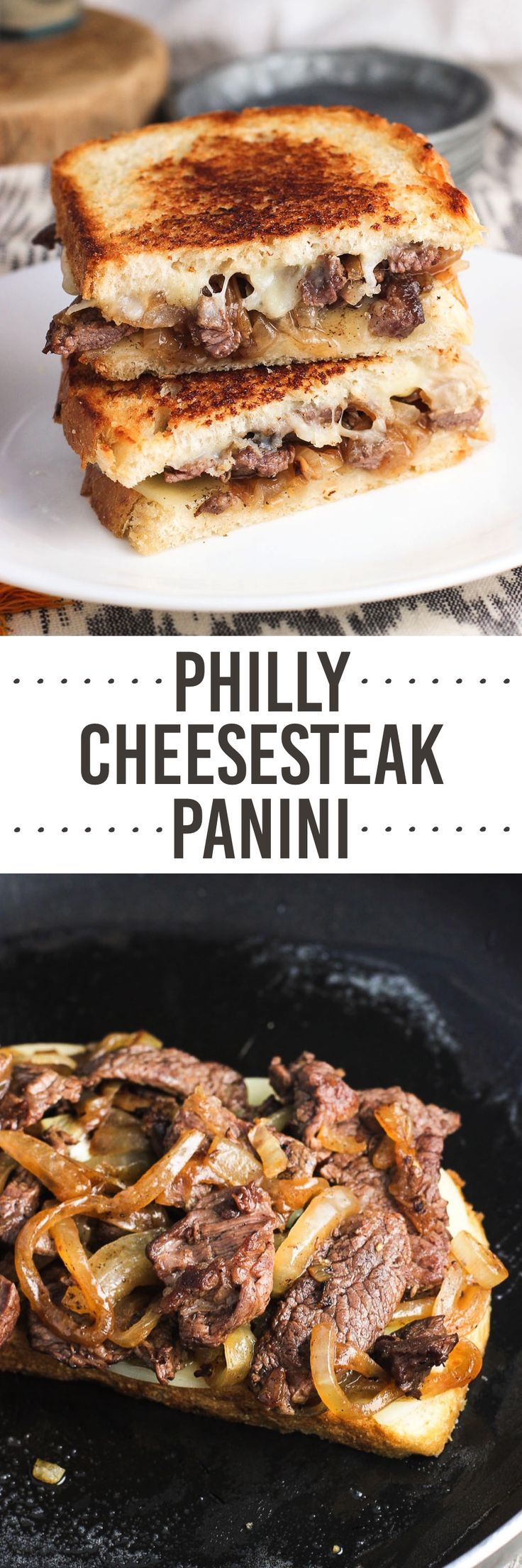 This Philly cheesesteak panini is inspired by the sandwich classic and features thinly-sliced chuck roast, provolone cheese, and lots of caramelized onions for a delicious and easy lunch or dinner!(Philly Cheese Sandwich)