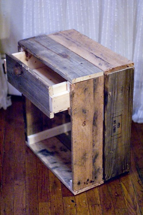 Pallet wood bathroom cubby/nightstand with drawer. Love the easy drawer guides built in.