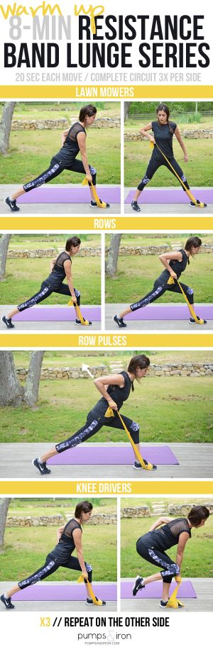 Quick Resistance Band Lunge Series (great warm up!)