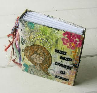 Another cereal box journal by Jennibellie - love the look of drawings cut-out from ephemera!