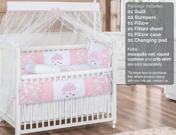 Little Happy Cloud Raindrop Sky Theme Pink White Baby Girl 7pc